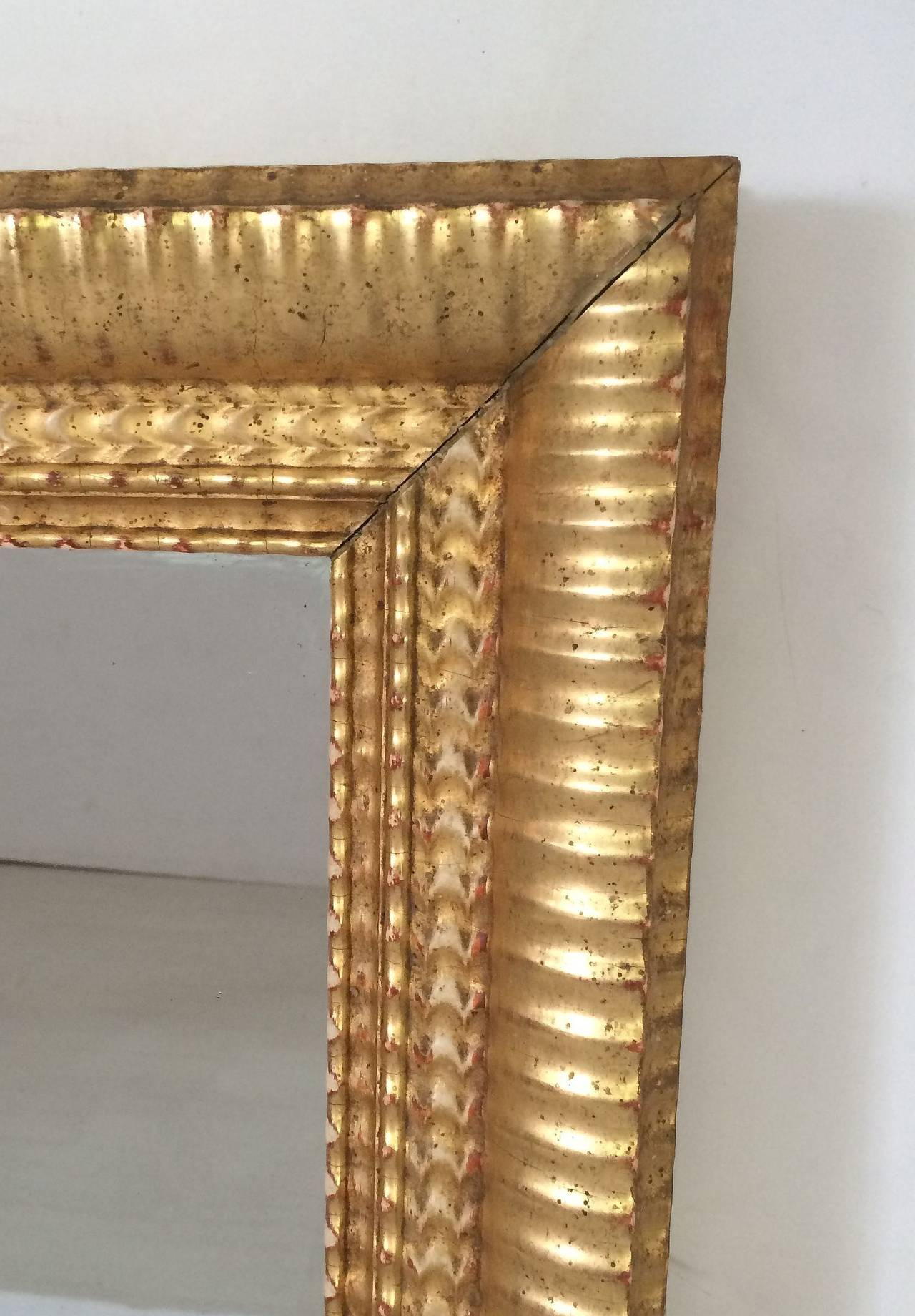 French Gilt Rectangular Wall Mirror (38 x 32) For Sale 1