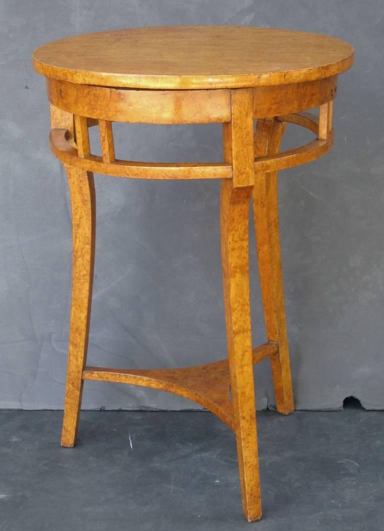 Biedermeier Russian Karelian Spalted Birch Table For Sale