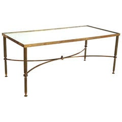 Large French Low Table of Brass and Mirrored Glass
