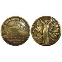 """Art Deco Bronze """"S.S. Normandie"""" Maiden Voyage Medallion by Jean Vernon, 1935"""