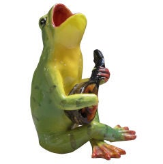 Majolica Singing Frog Playing Guitar by Massier