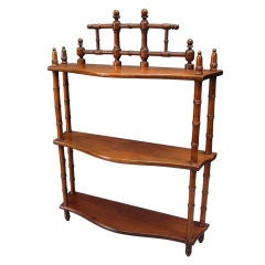 Faux Bamboo Hanging Curio Shelf of Mahogany