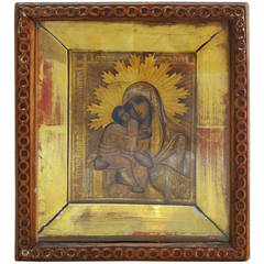 Russian Gilt Icon of Mother and Child (Mary and Jesus)