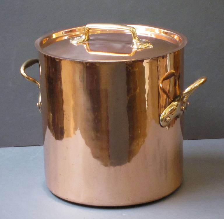 Large Copper Stock Pot With Lid At 1stdibs