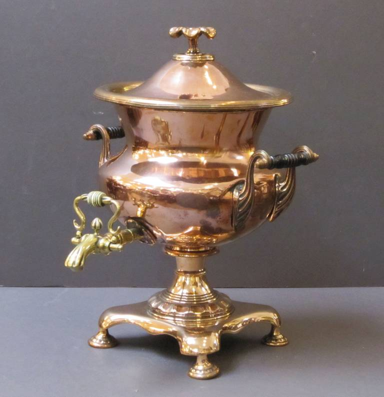 French Copper and Brass Samovar or Tea Urn In Good Condition In Austin, TX