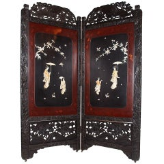 Asian Two-Fold Lacquered Screen from the 19th c.