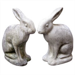 Pair of Garden Stone Rabbits -Art Deco (Priced Individually)