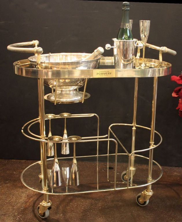 French Art Deco Champagne Bar Cart by Pommery For Sale