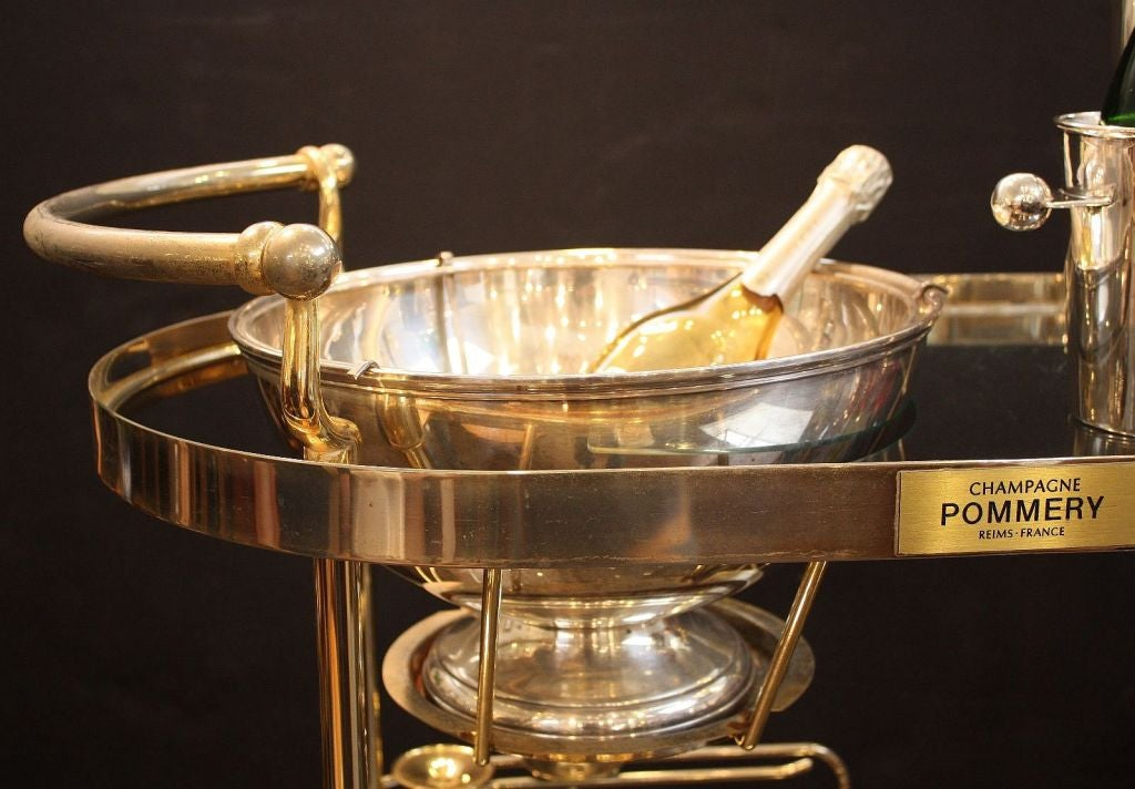 Silver Art Deco Champagne Bar Cart by Pommery For Sale