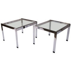 Pair of Chrome and Glass Tables by Merrow Associates