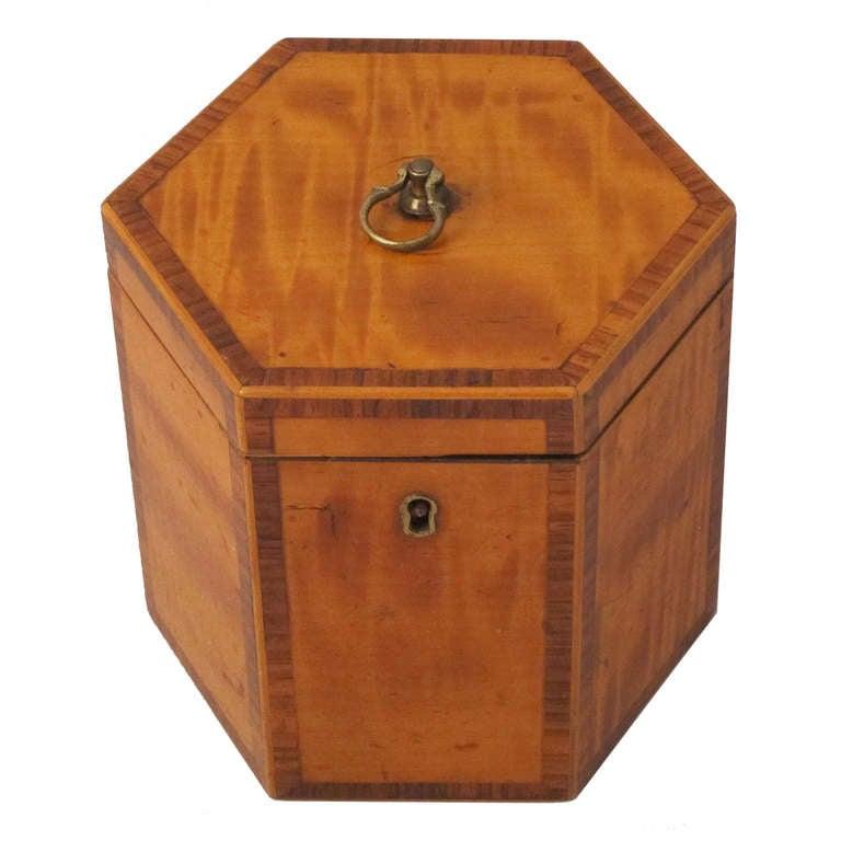 English Hexagonal Tea Caddy of Satinwood, circa 1790 For Sale