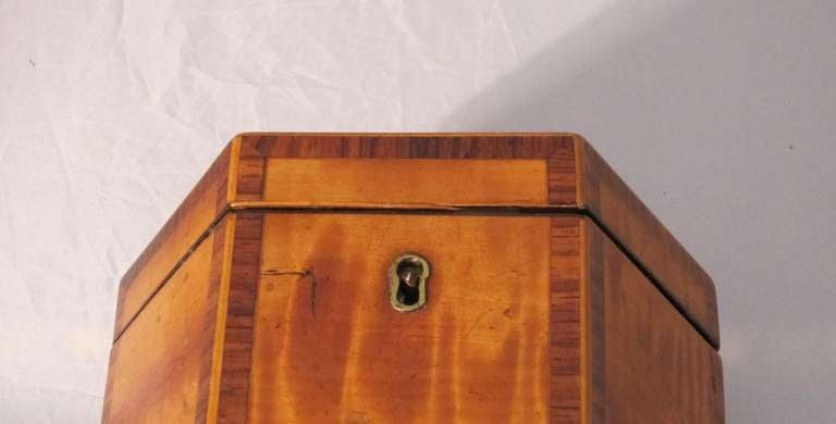 Brass English Hexagonal Tea Caddy of Satinwood, circa 1790 For Sale