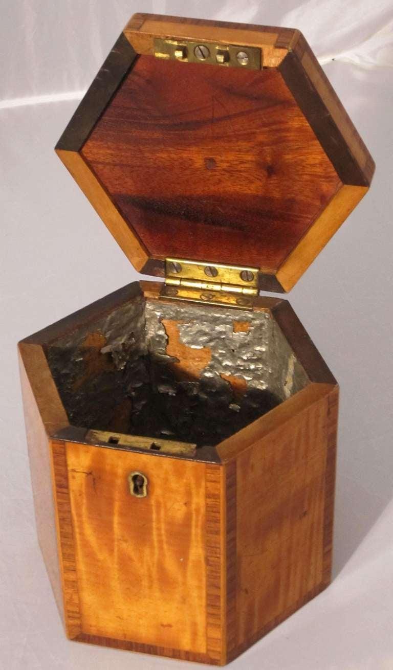 18th Century English Hexagonal Tea Caddy of Satinwood, circa 1790 For Sale