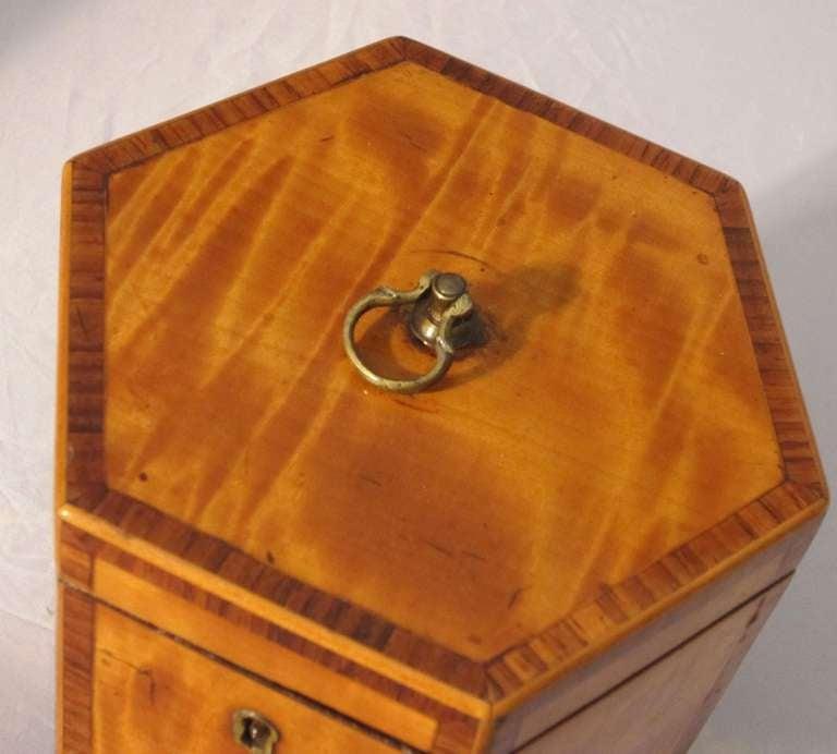 English Hexagonal Tea Caddy of Satinwood, circa 1790 For Sale 1