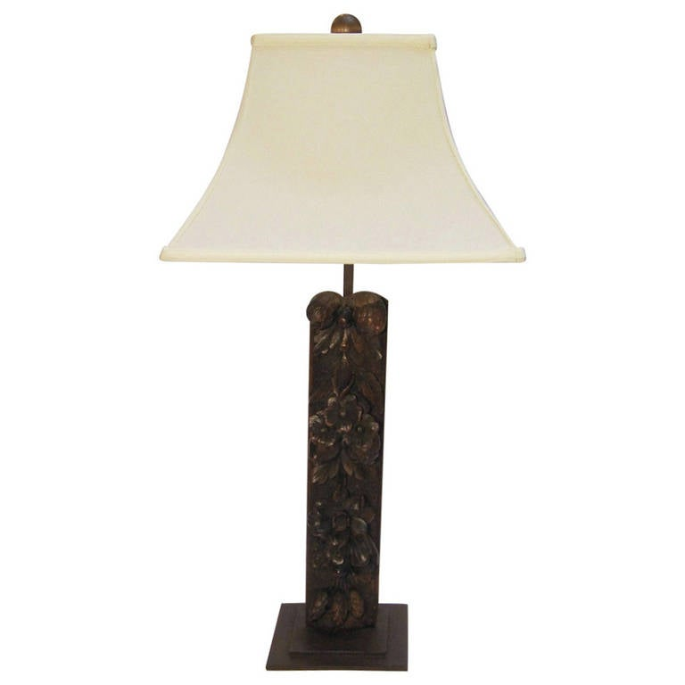 carved wooden table lamp with shade at 1stdibs. Black Bedroom Furniture Sets. Home Design Ideas
