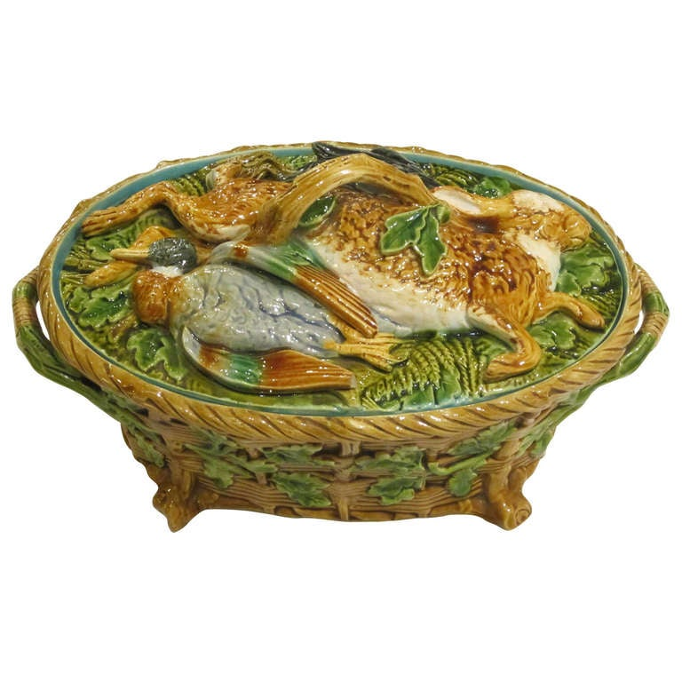 English Majolica Game Pie Tureen by Minton