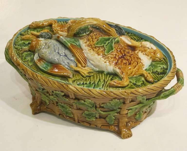 A fine Majolica game pie tureen and cover lid by the celebrated English pottery, Minton