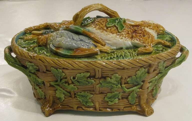 Glazed English Majolica Game Pie Tureen by Minton For Sale