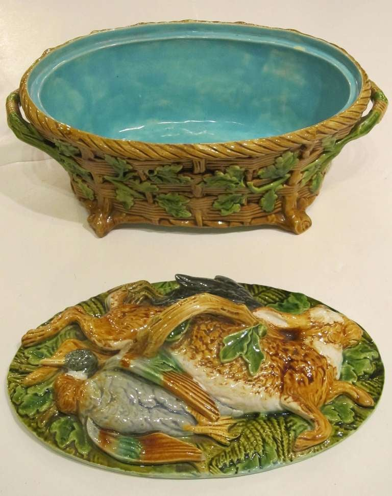 19th Century English Majolica Game Pie Tureen by Minton For Sale