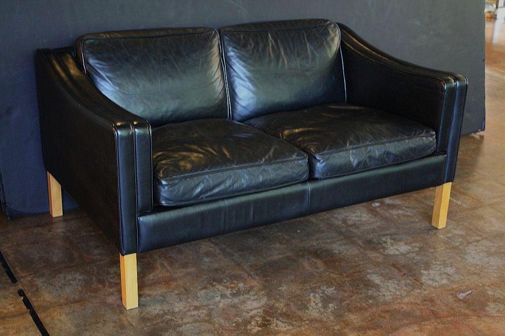 Danish Two Seat Sofa Black Leather At 1stdibs
