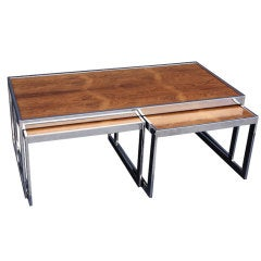 Set of Three Tables with Rosewood Tops (Merrow Associates)