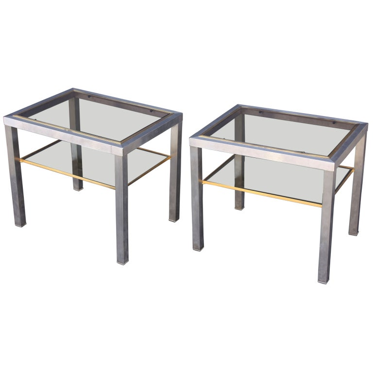 Pair of Side Tables of Brushed Steel and Brass