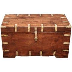 Military Officer's Campaign-Era Trunk of Brass-Bound Teak