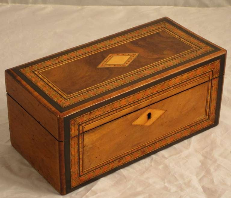 An English Tea Caddy Featuring An Inlaid Design Of Miscellaneous Woods  Known To Collectors As Tunbridgeware