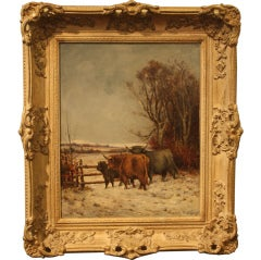 Framed Oil Painting of Highland Cattle by Tomson Laing