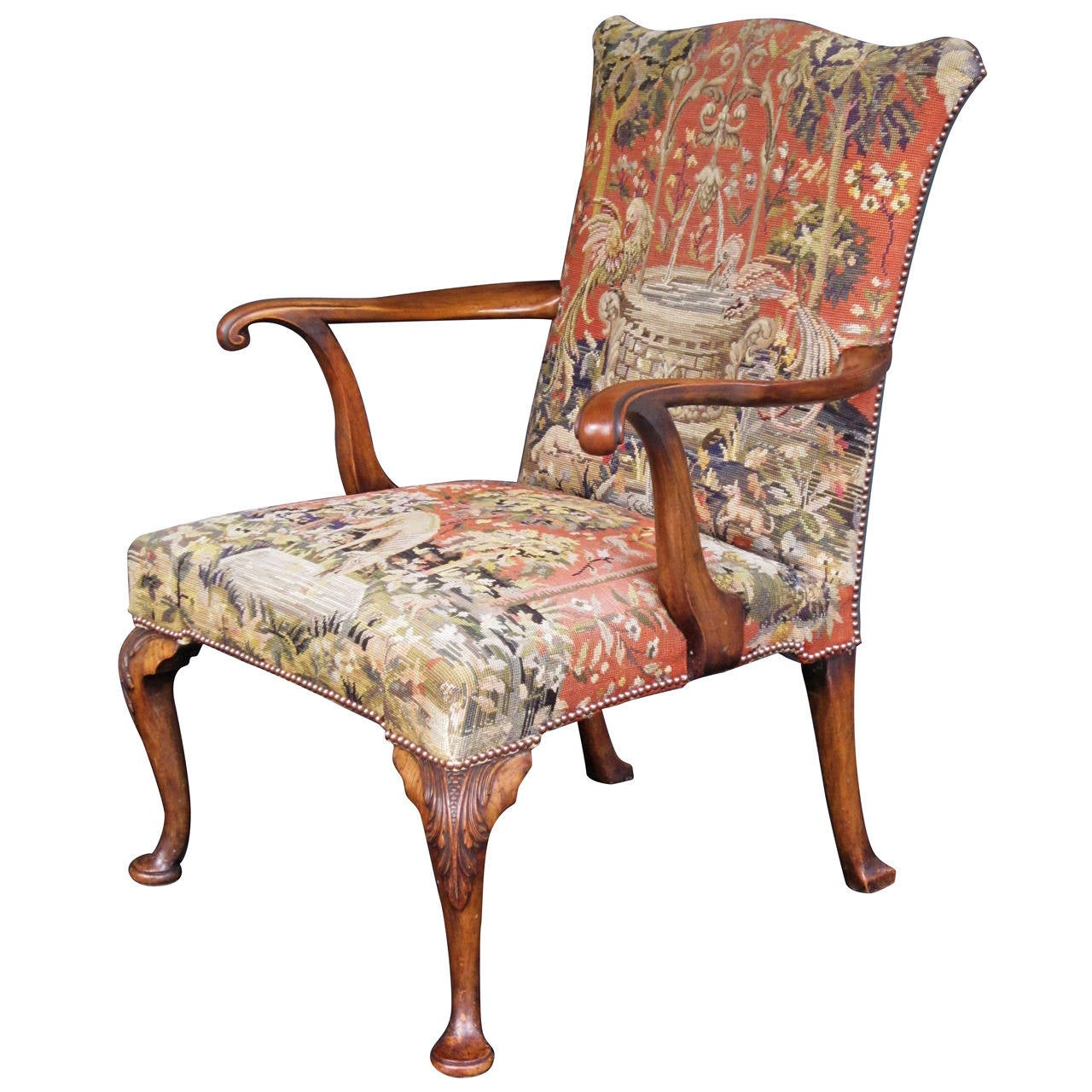 Large English Upholstered Arm Chair - Gainsborough Style ...