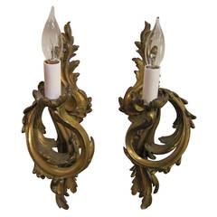 Pair of Regence Style Sconces of Gilt Bronze