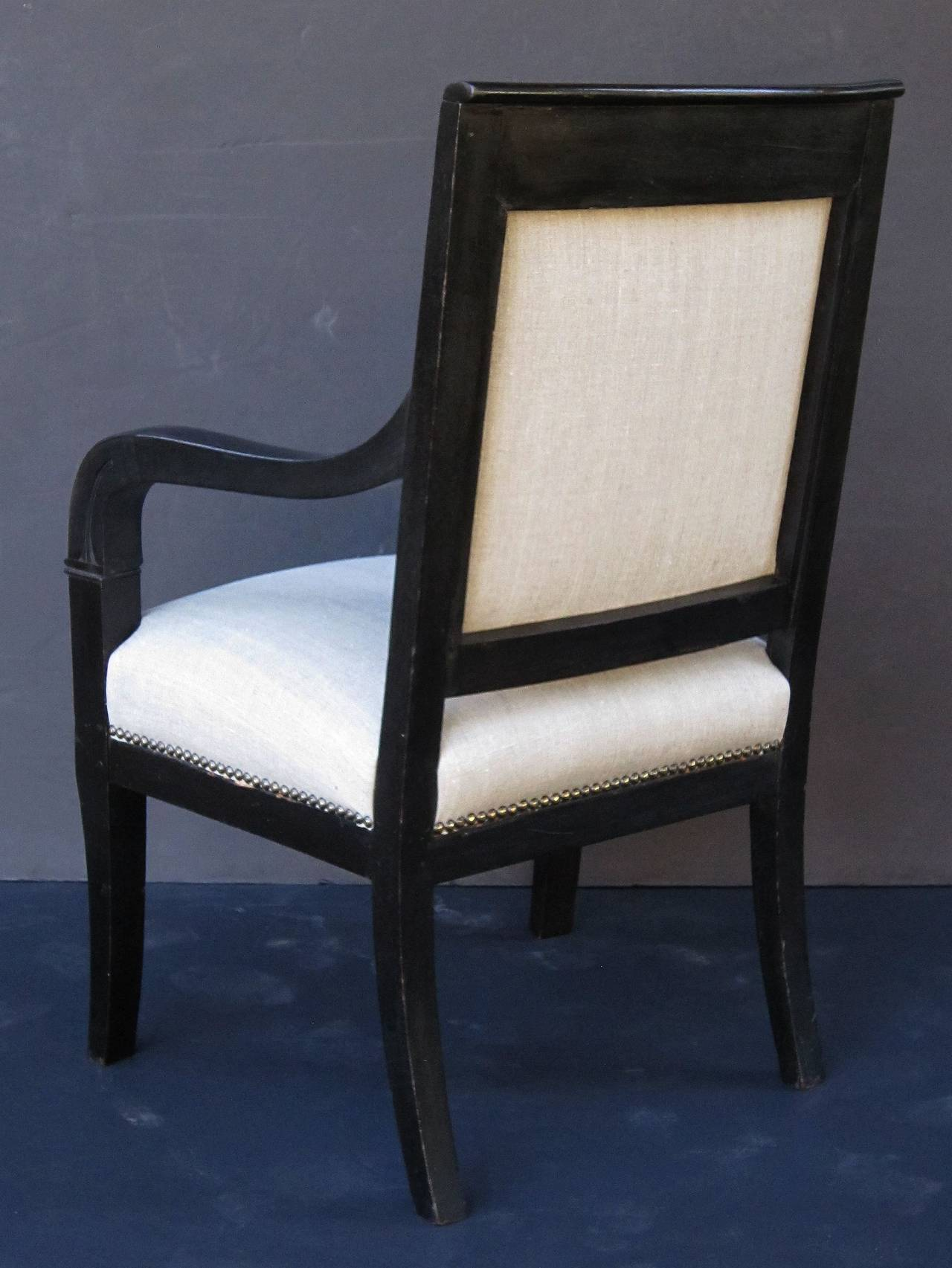 French Ebonized Armchair with Upholstered Seat For Sale 2