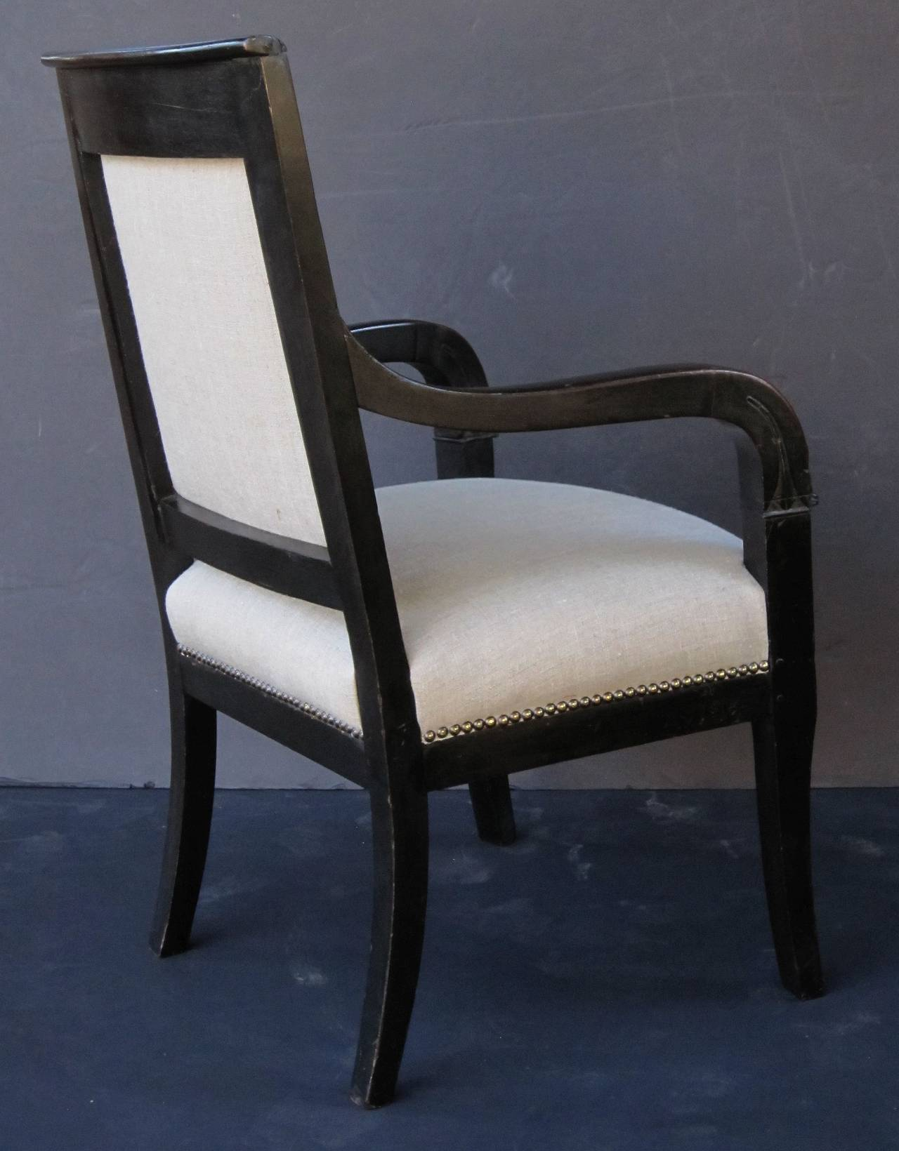 French Ebonized Armchair with Upholstered Seat For Sale 1