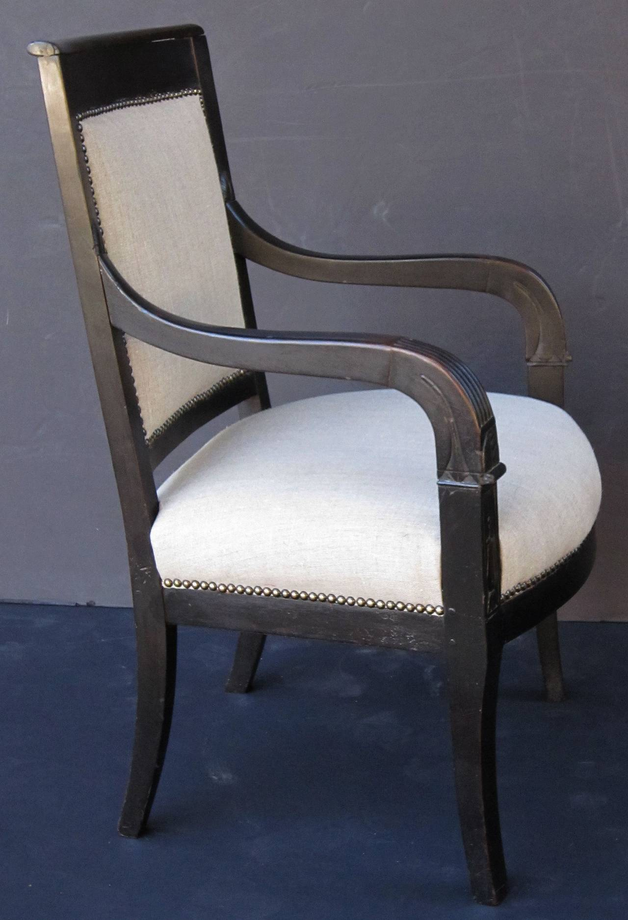 Early 20th Century French Ebonized Armchair with Upholstered Seat For Sale