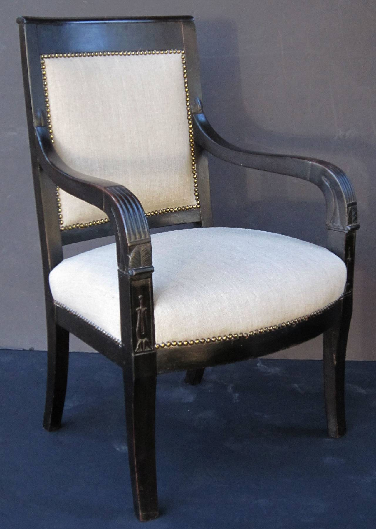 Upholstery French Ebonized Armchair with Upholstered Seat For Sale