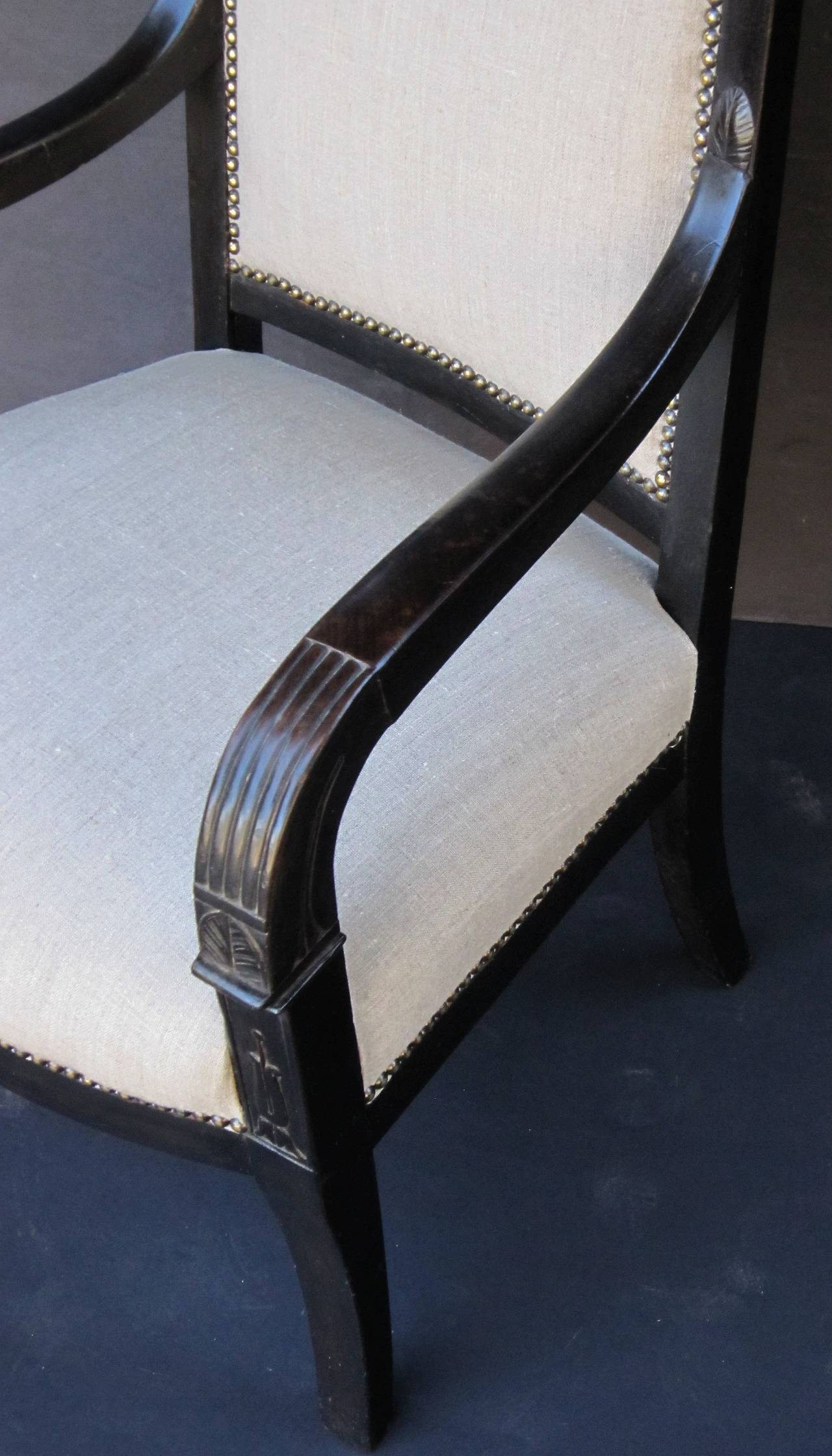 French Ebonized Armchair with Upholstered Seat For Sale 4