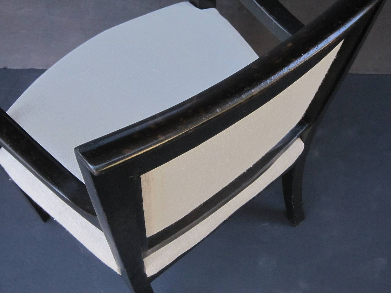French Ebonized Armchair with Upholstered Seat 8