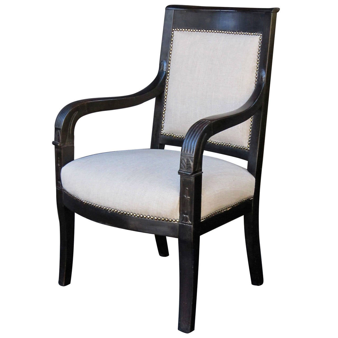 French Ebonized Armchair with Upholstered Seat 1