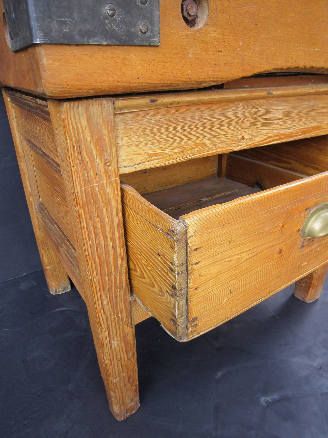 butcher s chopping block table on stand at 1stdibs
