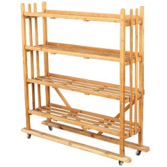 Rolling Trolley or Display Cart with Slatted Shelves of Long Pine