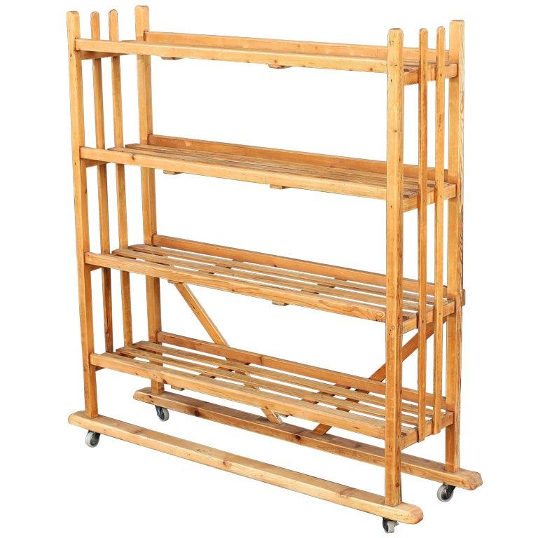 rolling trolley display cart with slatted shelves of. Black Bedroom Furniture Sets. Home Design Ideas