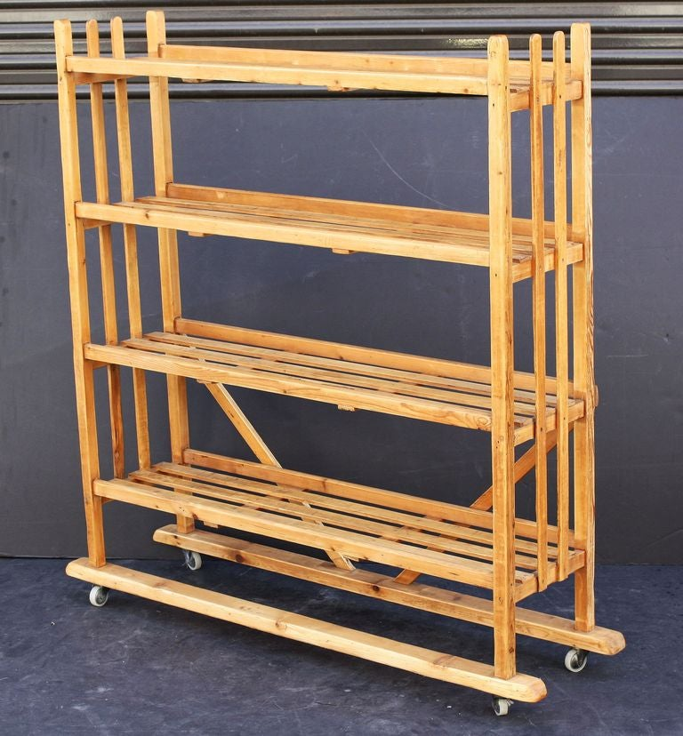 Roots Rack Kitchen Cart Pine: Rolling Trolley Or Display Cart With Slatted Shelves Of