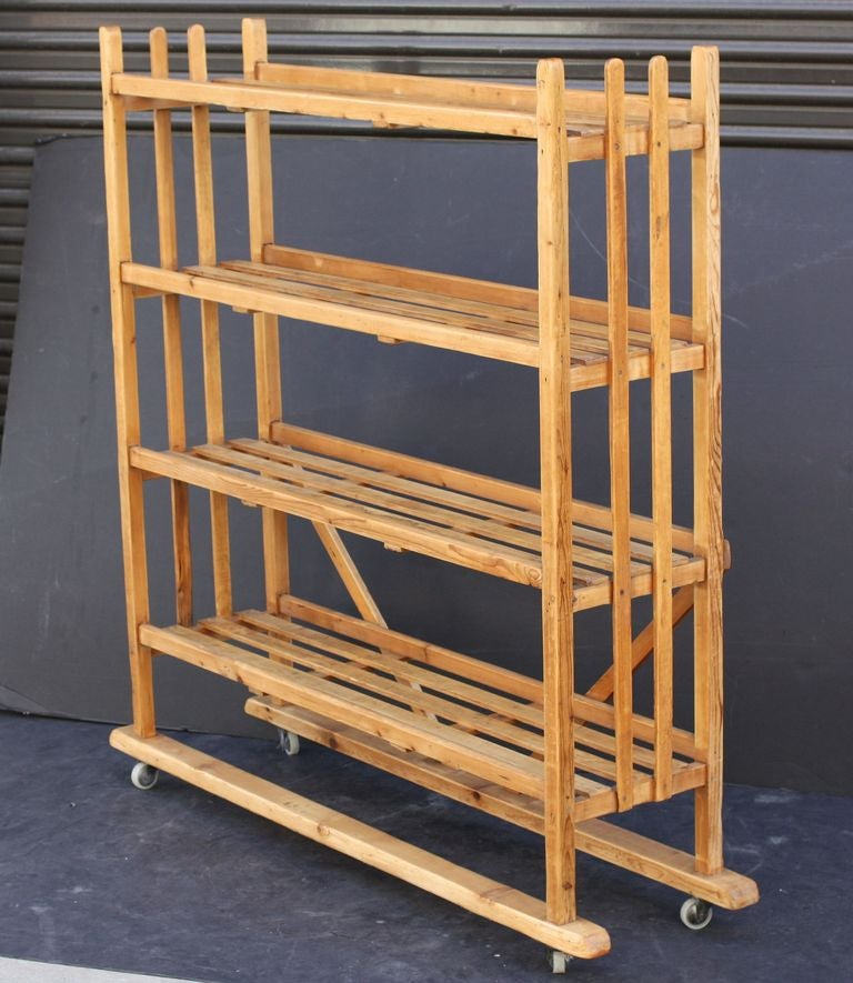 Roots Rack Kitchen Cart Pine: Rolling Trolley (Display Cart) With Slatted Shelves Of