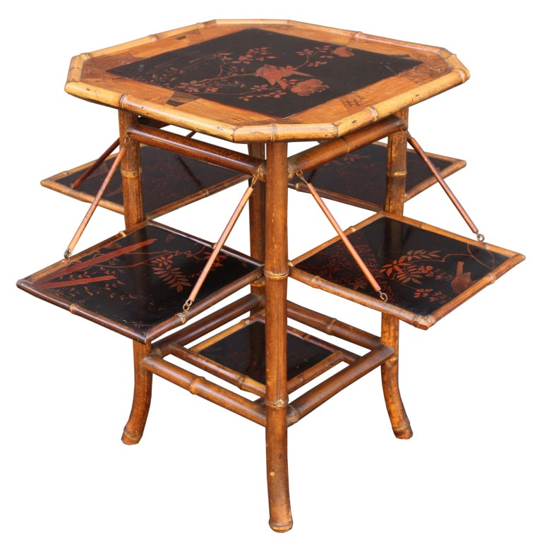 English Bamboo Tea Table With Folding Sides For Sale