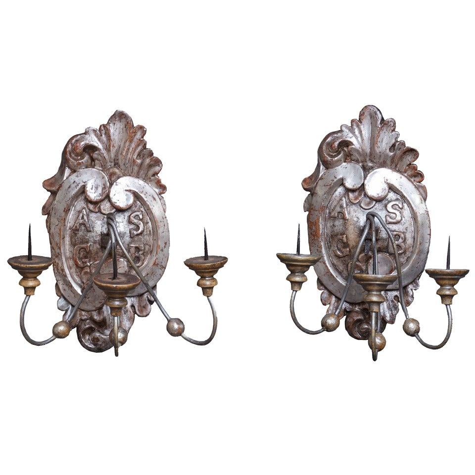 Pair of Silver Gilt Wall Sconces or Wall Lights from Italy