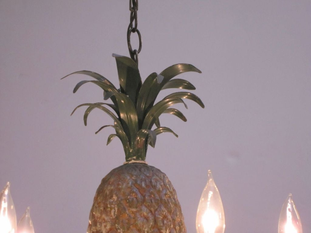 Italian hanging five light fixture with pineapple design 19 diameter