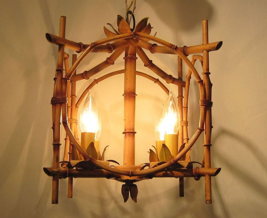 French Bamboo Hanging Light Fixture For