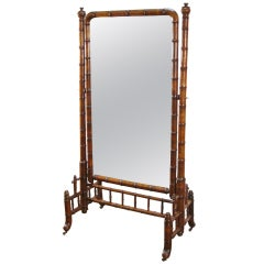 Faux Bamboo Cheval Mirror on Casters