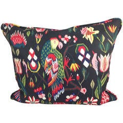 Pillow Made from Fabric with 18th Century Print with Parrot