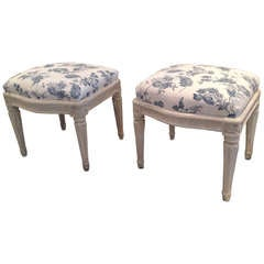 Pair of Large Stools Early Gustavian 1775-1790 Signed Sweden